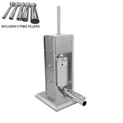 Commercial Sausage Stuffer Filler Machine #304 Stainless Steel 5 Funnel Sizes 7L