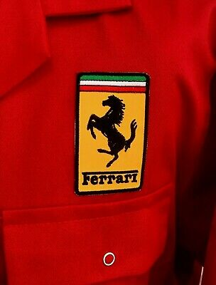 """Rare Classic Top Quality Goodwood Revival Ferrari Badged Red Overalls 52T"""" Chest"""