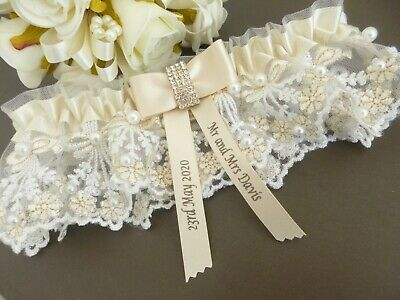 Personalised Wedding Garter Colour Champagne And Ivory With Pearls