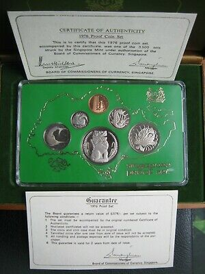 Singapore 1976 Proof Coin Collection Set ~ Year of the Dragon ~ Cent - $1 Dollar