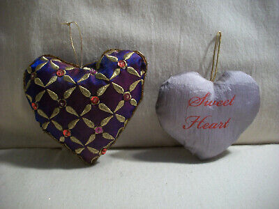 Lot Of 2 Vtg Puffy Fabric Heart Valentine's Ornaments Purple Sequins Sweet Heart