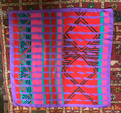 Vtg 80s Bright Red Pink Green Purple Stranger Things New Wave Dance Shawl Scarf