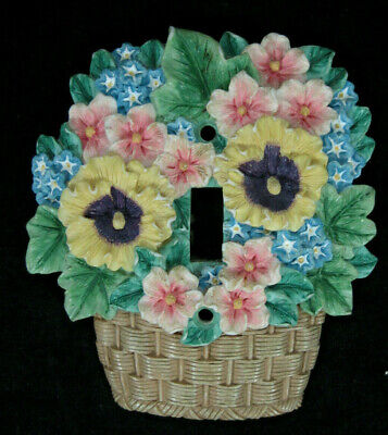 Ceramic Floral Flower Basket Light Lighting Switch Plate