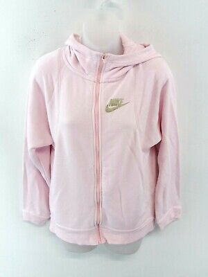 NIKE Girls Hoodie Jacket 13-15 Years Pink Cotton & Polyester