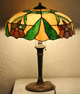 Antique Miller Lamp Co Leaded glass lamp