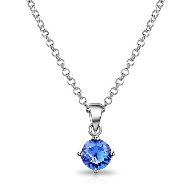Blue Solitaire Necklace Created with Swarovski® Crystals by Philip Jones