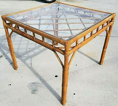 Vintage Mid Century Modern Bamboo Rattan Brass Bentwood Dining Gaming Table