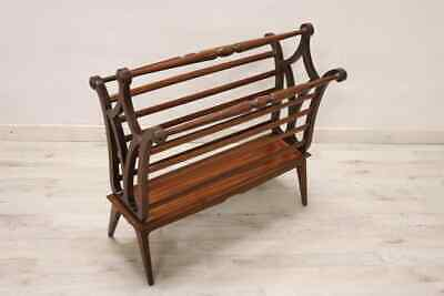 20th Century Italian Mahogany Wood Magazine Rack, 1960s