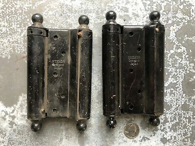 """Pair of STEMOR Japanned ball tipped double acting hinges Occupied Japan 5"""" NOS"""