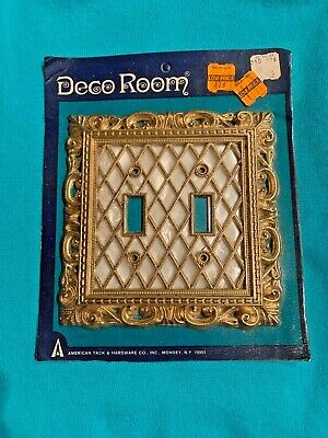 NOS Vintage Decorative Two Light Switch Wall Square Plate with Gold Tone Trim