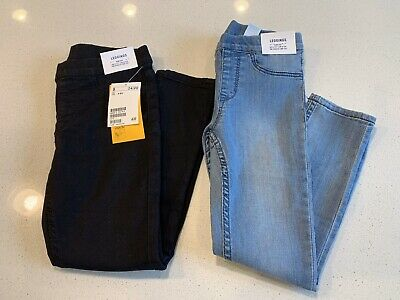 H&M Girls NWT Jeggings Size 4-5y In Black And Light Blue Denim