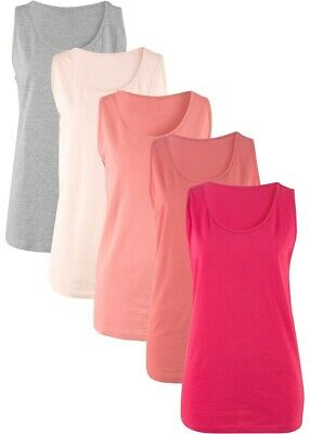 Damen Bequemes Long-Tanktop in Single Jersey (5er-Pack) Gr. 40/42 - Neu