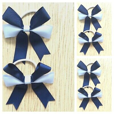 Handmade Girls School Navy/ Light Blue Hair Bow  Bobbles Sold In Pairs