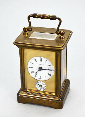 Tiffany & Co. Miniature Carriage Clock Swiss 11J Brass Glass Panels w/ Key as is