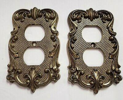 Vintage American Tack & Howe, Gold Brass Metal Light Outlet 2 Covers from 1970's