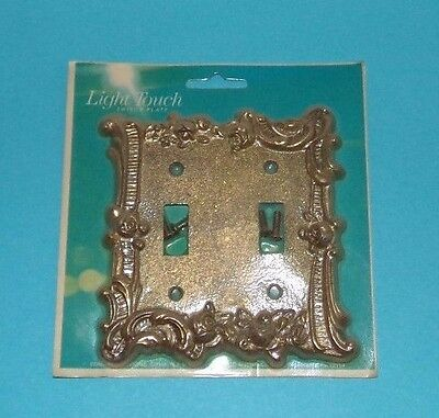 Vtg Nos Edmar Light Touch Double Switch Plate Brass Raised Flower Gold Bronze