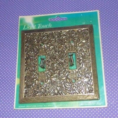 Vtg Nos Edmar Light Touch Double Switch Plate Brass Gold Bronze Raised Design z
