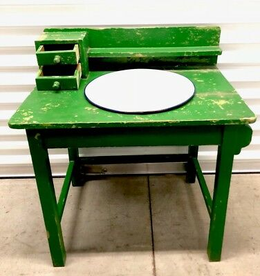 Vtg. European White Wash Basin And Table Stand W 2 Drawers & Towel Rack 1940's