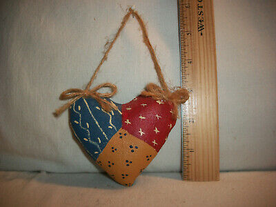 Vintage Puffy Heart Valentine's Day Ornament Painted Canvas Red Blue Gold Prim