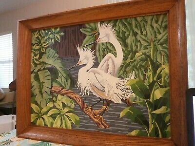 Big Vintage Oil Painting White EGRETS Birds Oil Painting Framed 21 1/2 x 27 1/2