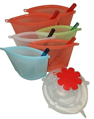 Reusable silicone food storage bags air- tight for snack,meats,vegetables,sous.