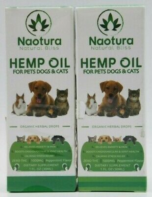 2 Pack Organic Hemp Oil Drops for Pets Dogs Cats 100% All Natural Anxiety Relief