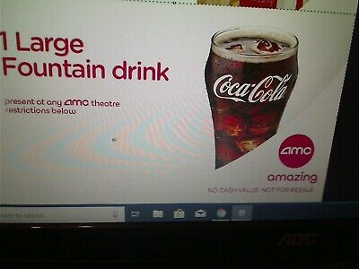 AMC Large Fountain Drink, expires 012/31/2020 e Delivery