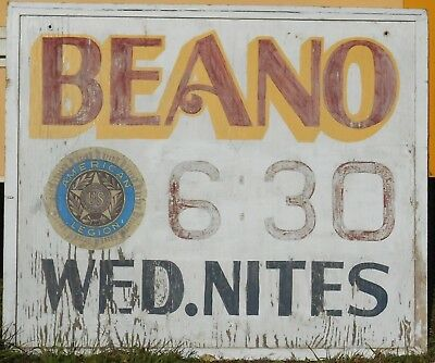 LARGE SIZE VINTAGE MID 20th CENTURY WOODEN BEANO SIGN