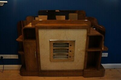 Very rare original Art Deco 1930's walnut fireplace/cabinet