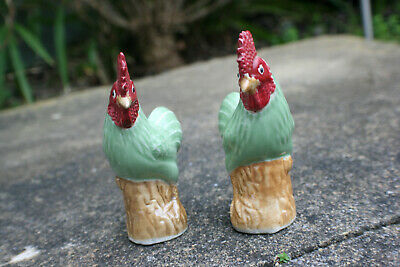 2 Pcs 20th C. Chinese Porcelain Carved Rooster Cock Chicken Figurine