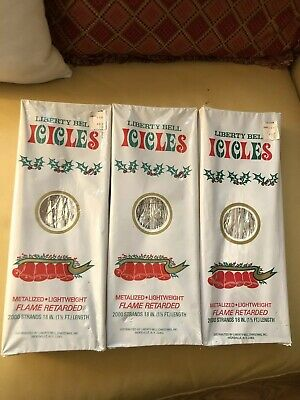 Vintage New Old Stock 3 Packs Holiday Liberty Bell Tree Silver Icicles