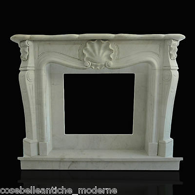 Kamin Weißer Marmor Carrara Stil Louis XV Classic Stone White Marble Fireplace