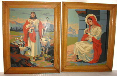 Vintage Paint by Number Madonna The Good Shepherd Jesus Framed art picture