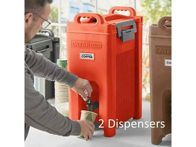 (2 Pack) 5 Gallon Red Insulated Stackable Catering Beverage Carrier Dispensers