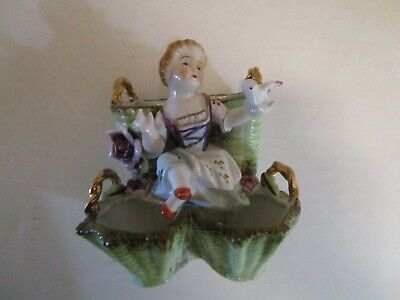 Arnart Creation Porcelain Victorian Lady sitting basket floral bird Japan #6762