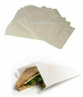 WHITE GREASEPROOF KRAFT PAPER BAGS FOOD SANDWICH GROCERY BAGS NON-STRUNG newlot