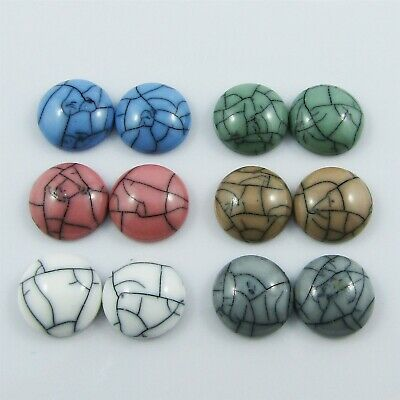Resin Round Faux Turquoise Cabochon 12mm Select 10 or 20 pieces in random pairs