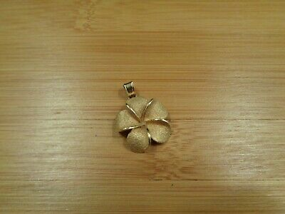 23mm Hawaiian Solid 14k Tri-Color Gold Plumeria Flowers Whale Tail Pendant #2L