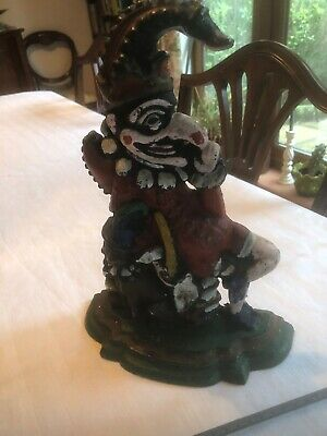 Punch And Judy Victorian Door Stop Origion Paint ( No Rust) Antique