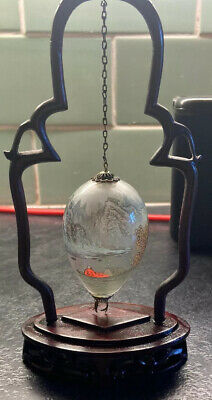 Beautiful Vintage Chinese Hanging Glass Egg Reverse Hand Painted on Wooden Stand