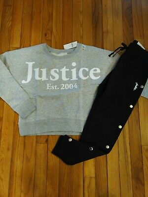 NWT Justice Girls Outfit Logo Sweatshirt/Faux Side Snap Joggers Size 10