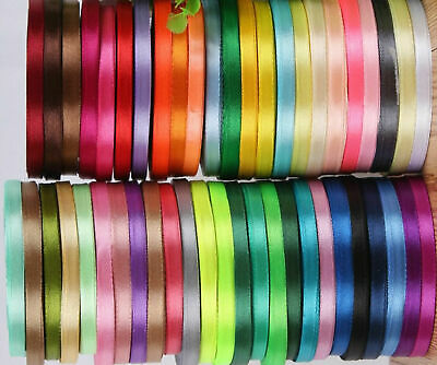 """5 Metres SATIN SINGLE SIDED RIBBON 1/4"""" 6mm VARIOUS COLOURS  STOCK CLEARANCE"""