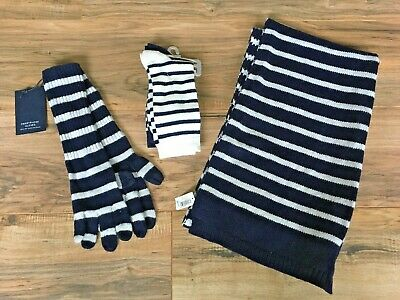 NWT Gap Lot Scarf, Smartphone Gloves and 2 Pairs of Socks Blue White Stripe Wool