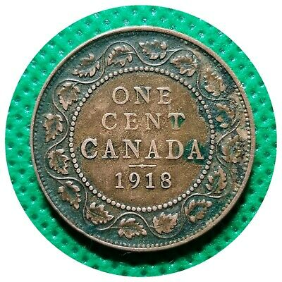 💰 1918 Canada Large One Cent Coin (95% Copper) - King George V #05