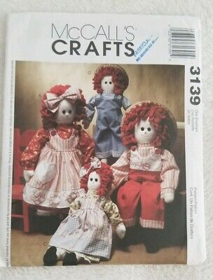 McCalls 2439 Doll Pattern Raggedy Ann /& Andy Rag Carrying Case Cloth Uncut