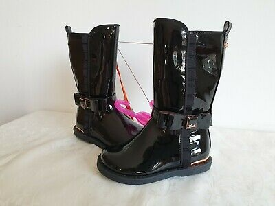 Ted Baker Girls Boot Shiny Black with Rose Gold Zipper & Bow Tie Shoes size 6/23