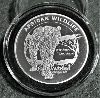 "African ""Leopard"" ""Wildlife Series""1oz Silver Plated Coin  in Decor Capsule"