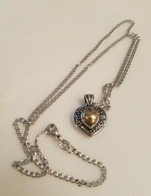 "James Avery Heart of Gold Necklace 20 "" 925 & 14K - Retired"