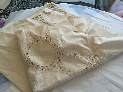 New With Tags - Tablecloth W Embroidery & Crochet Decorated Off White China