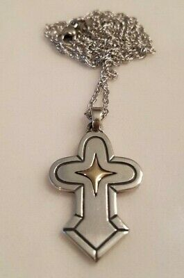 "James Avery Gold Star Cross Necklace 22""  925 & 14K - Retired"